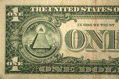 Moitié arrière d'un billet d'un dollar Image libre de droits