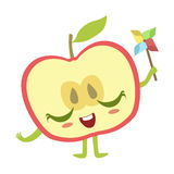 Moitié d'Apple avec l'illustration de vecteur d'Emoji de caractère de nourriture de Toy Cute Anime Humanized Cartoon de moulin à  Photos libres de droits