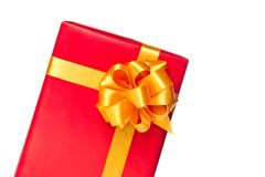 Moitié de cadre de cadeau rouge Photographie stock