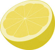 Moitié de citron jaune d'isolement sur le blanc Photographie stock