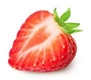 Moitié de fraise d'isolement sur le blanc Image stock
