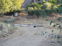 Moitié de grands tuyaux concrets déconnectés submergés de drainage Image libre de droits