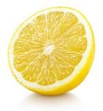 Moitié des agrumes jaunes de citron d'isolement sur le blanc Photos stock