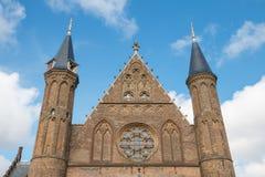Moitié supérieure de la façade le Hall des chevaliers à la Haye Images libres de droits