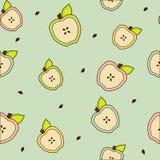 Moitiés d'Apple avec la texture sans couture de feuilles Illustration Stock