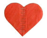 Moitiés de coeur de carton avec des agrafes Photos stock
