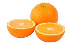 Moitiés oranges et deux coupées entières Photos stock