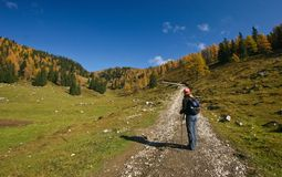 Hiker in Alps mountains Royalty Free Stock Photo