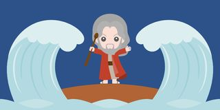 Mojżesz dzieli czerwonego morze w dwa częściach ilustracji