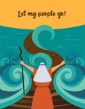 Mojżesz rozszczepia czerwonego morze i rozkazuje pozwalał mój ludzi iść z Egipt opowieść Żydowski wakacyjny Passover ilustracja wektor