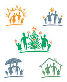 moja rodzina kartonowe koloru ikony ustawiać oznaczają wektor trzy royalty ilustracja