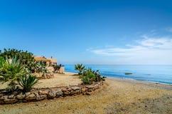 Mojacar的海滩的议院 图库摄影