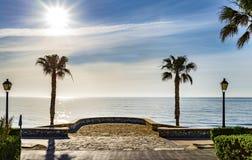 地中海的看法Mojacar的Playa 免版税库存照片