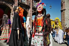 Mojigangas in SAN MIGUEL DE ALLENDE, MEXICO. A mojiganga is a giant puppet also used as sculpture or a grand scale design element for a large event, which trace stock photography