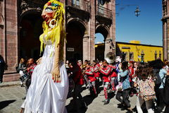 Mojigangas in SAN MIGUEL DE ALLENDE, MEXICO. A mojiganga is a giant puppet also used as sculpture or a grand scale design element for a large event, which trace royalty free stock images
