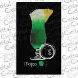 Mojito的例证与价格的在粉笔板 酒吧的模板元素 免版税库存图片