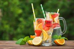 Mojito鸡尾酒和成份、柠檬、草莓和桔子 免版税库存照片