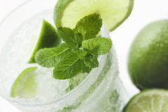 Mojito 3. Closeup of Mojito with limes and mint on White background Royalty Free Stock Photo