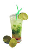 Mojito. Cocktail Mojito removed close up with  lime  on a white background Royalty Free Stock Image