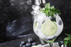 Mojito alcolico del mirtillo del cocktail di estate con rum, menta, calce fotografie stock