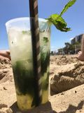 Mojito on The Beach. Having a nice drink in The heating Royalty Free Stock Photography