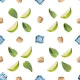 Mojito-Bestandteile lokalisiert auf einem weißen Hintergrund Stockbild