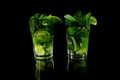 Mojito on a black background Royalty Free Stock Image