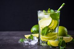 Mojito on black. Background. Tradition Summer drink mojito with lime mint and ice royalty free stock image