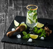 Mojito on the black board. Royalty Free Stock Photography
