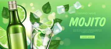Free Mojito Bottle And Glass With Liquor, Lime And Ice Stock Images - 155089924