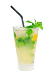 Mojito caipirina cocktail with fresh mint leaves Stock Images