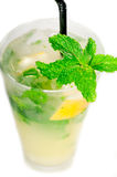 Mojito caipirina cocktail with fresh mint leaves Stock Photography