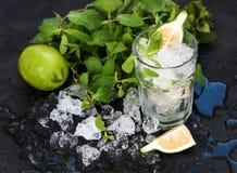 Mojito che cucina insieme Il mazzo di menta fresca, calce, ha scheggiato il ghiaccio ed il vetro del coctail sopra il contesto ne immagine stock