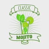 Mojito classic cocktail. Vector illustration of fresh and salty drink. Stock Images