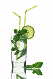 Mojito cocktai Isolated on White Background Stock Images