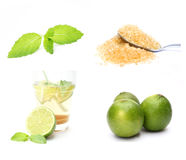 Mojito cocktail. Ingredients isolated on white background royalty free stock image