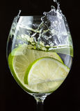 Mojito cocktail. With ice on black stock images