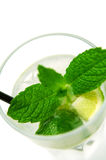 Mojito Cocktail. A glass of mojito cocktail (focus on the lemon stock image
