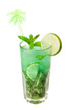 Mojito cocktail. With lime in glass royalty free stock photos