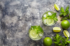 Mojito cocktail alcohol bar drink traditional Cuba beverage top view copy space two highball glass with rum. Mojito cocktail alcohol bar drink traditional Cuba Stock Images