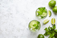 Mojito cocktail alcohol bar long drink traditional Cuba fresh tropical beverage top view copy space two highball glass Stock Photo