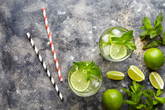 Mojito cocktail alcohol drink summer beverage top view copy space two highball glass Stock Photos