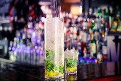 Mojito cocktail on the bar. Two litre jug with mojito cocktail Stock Photos