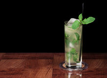 Mojito cocktail on black Royalty Free Stock Images