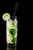 Mojito cocktail on black background Royalty Free Stock Photos