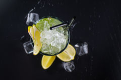Mojito Cocktail on black background Royalty Free Stock Images