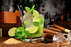 Mojito Cocktail with Cigars stock image