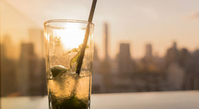 Mojito cocktail. Cityscape, top roof bar stock photos