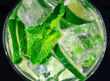 Mojito cocktail. Cold refreshing cocktail with mint and lime and ice cubes Stock Photo