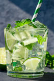 Mojito cocktail. Cold refreshing cocktail with mint and lime and ice cubes Royalty Free Stock Image